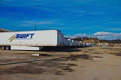 Trailer Swift (tatsuya.ouchi) Tags: california street blue sky stilllife car skyline contrast truck canon losangeles parking transport streetphotography transportation trucks swift trailer repeat taylorswift