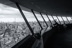 Overlooking (Ted Tsang) Tags: shadow sky people blackandwhite window japan skyline clouds landscape tokyo cityscape silhouettes olympus   bunkyo observationdeck em1    bunkyociviccenter tokyoskytree  1240mmf28