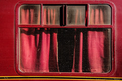 red hot vintage travel (lunaryuna) Tags: red colour rot window carriage decay railway dirt curtains aging lunaryuna rosso steamtrain scarboroughspaexpress vintagetravel rougerojo