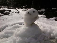 se llama Yosi y fue nuestro 1er muñéco de nieve! Horrible, pero tiene personalidad :P