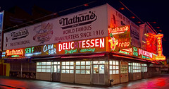 Nathan's - Congrats on the grand re-opening after the storm (James and Karla Murray Photography) Tags: nyc newyorkcity usa newyork brooklyn coneyisland photography neon storefront shops gothamist stores momandpop newyorknights jamesandkarlamurray jamesandkarlamurraycom hurricanesandy
