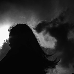 Hair (Andyka Setiabudi) Tags: bw girl silhouette canon hair indonesia square format siluet g12
