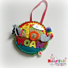 Noah decoration (heartfelthandmade) Tags: noah cloud elephant rainbow handmade name decoration lion felt ornament zebra giraffe ark heartfelt personalized