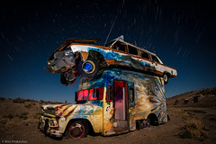 Cab Over Truck (dejavue.us) Tags: longexposure nightphotography lightpainting abandoned nikon desert nevada fullmoon nikkor startrails d800 goldfield 1835mmf3545d vle carforest