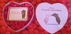 Rosalie und Trffel  - Kleine Verwhn-Gutscheine (Stepas-piglets) Tags: love pig heart paar pigs herz schwein liebe piglets wildschwein gutschein schweine schweineliebe