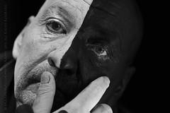 (post script) resolution (paloetic) Tags: portrait male eyes emotion fingers bodypaint resolution facepaint theatrical halfandhalf closeupview inspiredbymusic inspiredbylyrics shootinginblackwhite