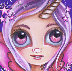 "Mini ""Starry Eyed Unicorn Fairy"" by Jaz Higgins (Jaz Higgins) Tags: pink original cute eye girl illustration fairytale painting stars big wings eyes whimsy doll pretty artist purple surrealism australian surreal pop fairy faery surrealist eyed horn etsy fairies higgins unicorn imaginary jaz faeries whimsical lowbrow"