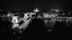 The View from Buda Castle (Rodney A. Johnson) Tags: blackandwhite bw 120 film mediumformat hungary budapest streetphotography scala epson 6x7 duna agfa rodinal magyar danube buda pest 200x expiredfilm lnchd greshampalace filmphotography mamiya7 szchenyilnchd sekonic szchenyichainbridge v750 80mmplanar agfascala200x greshampa