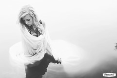 (Marschie) Tags: summer bw lake cute love nature wet water girl sunshine river dark spring shoot seasons dress expression floating monotone cleavage float pure marschie