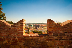 Window to the city (jev55) Tags: city blue red sky brown brick wall skyline buildings garden nikon republic view czech prague terracotta roofs tiles czechrepublic