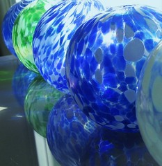 5 oil lamps... (margeois) Tags: blue green globes blueglass oillamps rounds
