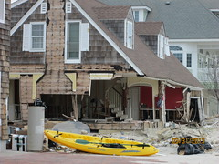 Stairwell & Chair Rail - Mantoloking, NJ (Tim Loesch) Tags: storm beach stairs newjersey kayak sandy hurricane nj shore jerseyshore beachhouse mantoloking hurricanesandy
