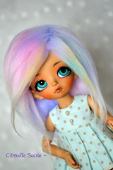 Commission pour Sendell (Citrouille Sucre) Tags: cute ball fur rainbow doll pastel tiny kawaii wigs bjd luts delf fairyland jointed mnf minifee rheia
