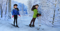 (10) Cross Country Skiing (Foxy Belle) Tags: trees winter snow ski scale fashion vintage miniature doll skiing cross country barbie 16 poles miss suzette diorama uneeda