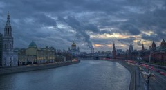 gloom (Sergey S Ponomarev) Tags: city winter light sunset sky church nature water night clouds canon reflections landscape cathedral russia outdoor moscow ngc rivers inverno hdr