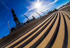 Steps up (CWhatPhotos) Tags: blue sky skies skys clouds cloudy day blackpool lancs lancashire north sand beach sun light silhouette silhouetted silhouettes photographs photograph pics pictures pic picture image images foto fotos photography artistic cwhatphotos that have which with contain epl5 olympus pen lite esystem four thirds digital camera lens olympuspen sanyang 75mm 35 f35 fisheye fish eye samyang manual focus wide view 43 fit mft micro tower blackpooltower steps promenade