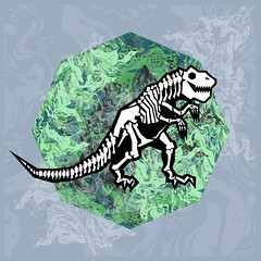 T. REX Fossil (Chobopop) Tags: geometric skeleton fossil skull design pattern dinosaur character mint bones marble vector jurassic nineties 1990s trex 90s tyrannosaurusrex chobopop society6 bychobopop