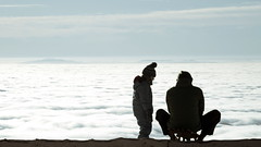What will happen when we reach the ocean, dad? (micagoto) Tags: ocean old winter sun fog dad child infinity father young son inversion wintersport schwarzwald schlitten rhinevalley kandel