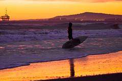 Linger (F.emme) Tags: ocean california sunset beach reflections seaside surfer southerncalifornia huntingtonbeach