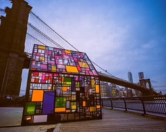 Color Glass House and Brooklyn Bridge Vista (Raphe Evanoff) Tags: nyc sky urban film glass skyline brooklyn colorful waterfront manhattan brooklynbridge bluehour mamiya7