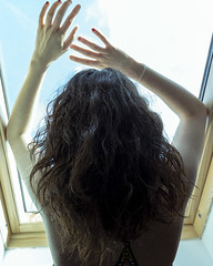 J154 (charlotte.boullier) Tags: blue sky people bird window colors girl strange dark hair nude photography weird back hands escape arms underwear aztec body lace dream free lingerie brunette nudity challenge feels 365days 365project 365challenge projet365