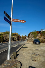 Which Way to Go (Jocey K) Tags: road street autumn trees newzealand sky cars highway hills autumncolours alexandra southisland centralotago signpost autumncolour tripdownsouth