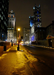 Old Montreal at Night (` Toshio ') Tags: street city winter snow canada cold building church architecture streetlight montreal basilica canadian notredame oldtown placedarmes toshio xe2 oldtownmontreal fujixe2