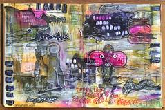Art Journal J103 Fishy Business (karinaltarts) Tags: fish art mixedmedia text artjournal fishybusiness