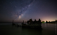 **Ghost Ship 2** (damian.mccudden1) Tags: longexposure cold nature water canon stars landscapes space fineart australia shipwreck astrophotography qld sunshinecoast nightscapes milkyway ghostship samyang