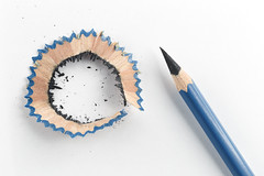 Pencil sharpened by Sharpener, Life made by Time, and Soul completed by Love. (jack-sooksan) Tags: shadow white black pencil writing paper wooden woods background shell surface tools dirty tip bark dust peel stationery nib graphite shavings isolate