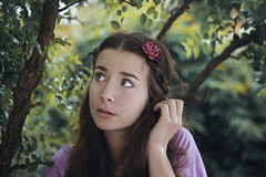 Daydreaming (Enrico Cavallarin) Tags: flower tree nature girl face leaves rose garden hair kid soft hand portait softness portraiture ethereal delicate magical intothewoods delicacy daydreaming intothenature intotheforest