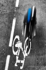 Citymove (dalibor.papcun) Tags: street blue bw colour bike sport contrast speed cycling citylife krakow cycle