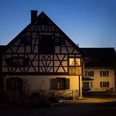 Light in the Dark (Mopple Labalaine) Tags: light night switzerland bodensee halftimbered timbered lakeconstance ermatingen