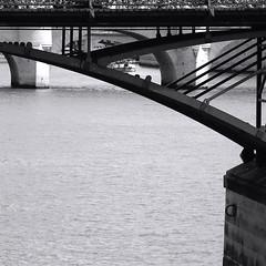 Sous les ponts de Paris coule la Seine ... (_ Adle _) Tags: blackandwhite bw paris seine arches nb paysage fleuve pontdesarts graphique