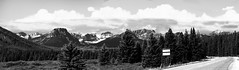 Rest Stop Alberta (Alan FEO2) Tags: trees sky blackandwhite panorama mountains monochrome landscape outdoors 1 highway ab reststop route alberta banff lakelouise canda layby 2oef
