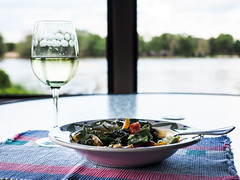 Wine & Salad (Lake Effect) Tags: glass river salad wine screen explore porch whitewine project365 explored 177365