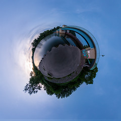 Mlheim Wehr (little planet) (Mokomima Photography) Tags: nodalninja panorama mlheimanderruhr germany deutschland photography photoshop cameraraw canon 7d 815 fisheye wehr europe river ruhr travel tripod postprocessing sky graffiti fluss nature longexposure landscape bridge blue nrw littleplanet 360 barrage embankment stativ nadir zenith brcke ptgui