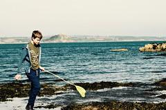 Happy Rock Hopping (Bryony_) Tags: uk holiday beach seaside fishing cornwall rockpools