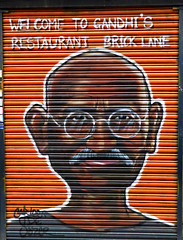 Gandhi (Draopsnai) Tags: streetart graffiti restaurant mural gandhi shutters bricklane spitalfields
