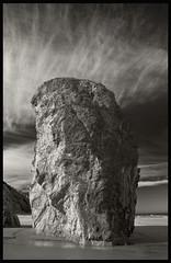 Stack #22; Bandon, Oregon (hamsiksa) Tags: beach rock oregon landscape coast blackwhite sand pacific shore oregoncoast geology bandon seastack senic sescape