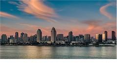San Diego (Techjunkie00) Tags: ocean sunset cloud building water skyline bay san downtown diego sd coronado drone