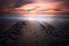Limbo (Tony N.) Tags: france normandy normandie limbo limbes oubli forsight sunset benervillesurmer beach plage sand sable print traces pneu tire sea mer sky ciel poselongue longexposure vanguard d810 nikkor1635f4 nd110 bw tonyn tonynunkovics