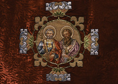 St Peter & St Paul (Lawrence OP) Tags: red paul veil embroidery saints peter apostles vestment