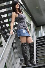 Chrissi 11 (The Booted Cat) Tags: sexy girl model legs boots jeans heels miniskirt overknee demin higheels