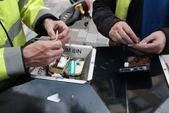 Rolling (Moochin Photoman) Tags: street hands skins outdoor belfast bin papers northernireland cigarettes tobacco rolling breaktime pelts veralynns councilworkers handytable