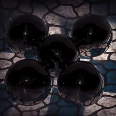 Boules et craquelures - 6 (Spock2029) Tags: blue white reflection metal ball bleu blanc cracked mtal boule craquelure rflexion