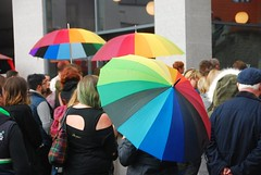 "Rainbow Umbrellas at Plymouth Stand with Orlando vigil • <a style=""font-size:0.8em;"" href=""http://www.flickr.com/photos/66700933@N06/27718834256/"" target=""_blank"">View on Flickr</a>"