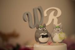 Totoro with initials wedding cake topper (charles fukuyama) Tags: wedding cute ceremony custom bridalveil brideandgroom sculpted  bridalbouquet weddingcaketopper cakedecor claydoll forestwedding handmadecaketopper kikuike wordscaketopper