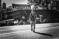 A Chill In The Sun (TMimages PDX) Tags: road street city people urban blackandwhite monochrome buildings portland geotagged photography photo image streetphotography streetscene sidewalk photograph pedestrians pacificnorthwest avenue vignette fineartphotography iphoneography