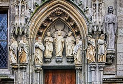 Sculptures over the Ratsturm Entrance depicting important German figures (PhotosToArtByMike) Tags: ratsturm rathaus colognecityhall klnerrathaus oldtownhall colognegermany cologne germany sculpture statues cityhall dom koln klnerdom oldtown rhineriver oldquarterofcologne europe